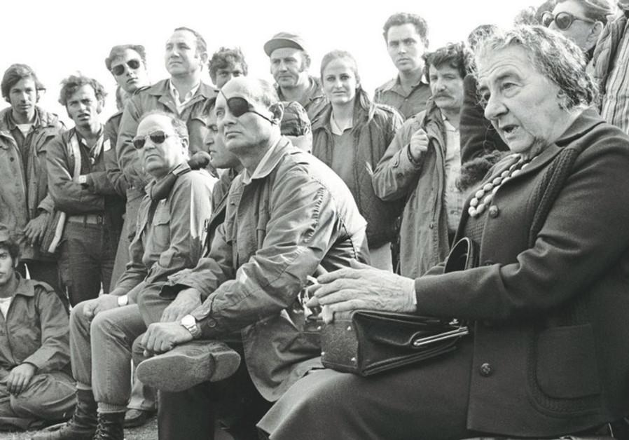 Golda Meir and Moshe Dayan during Yom Kippur War