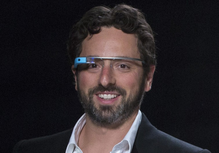 Google co-founder Sergey Brin wearing Google-Glass