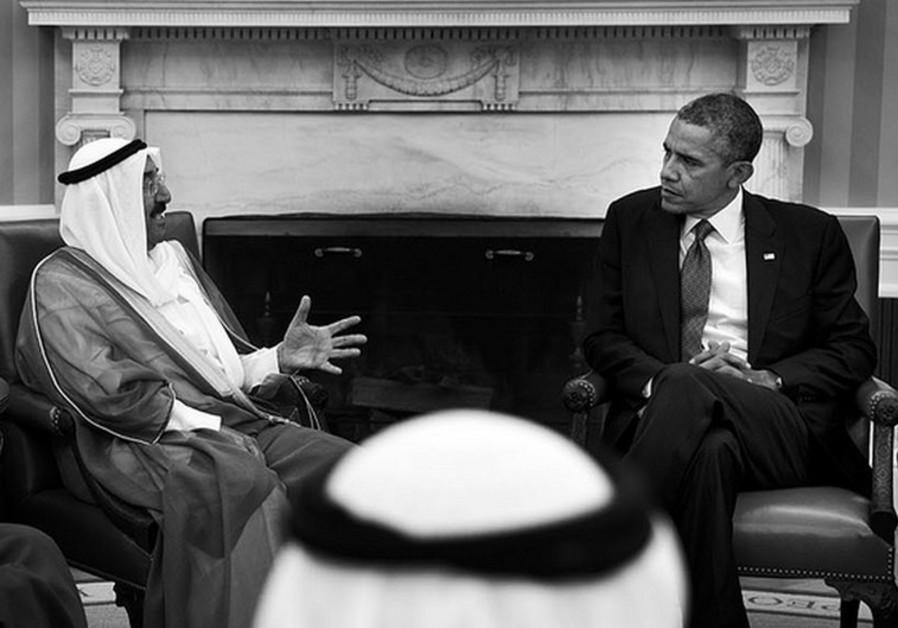 Barack Obama and Sheikh Sabah Al-Ahmad Al-Jaber Al Sabah.