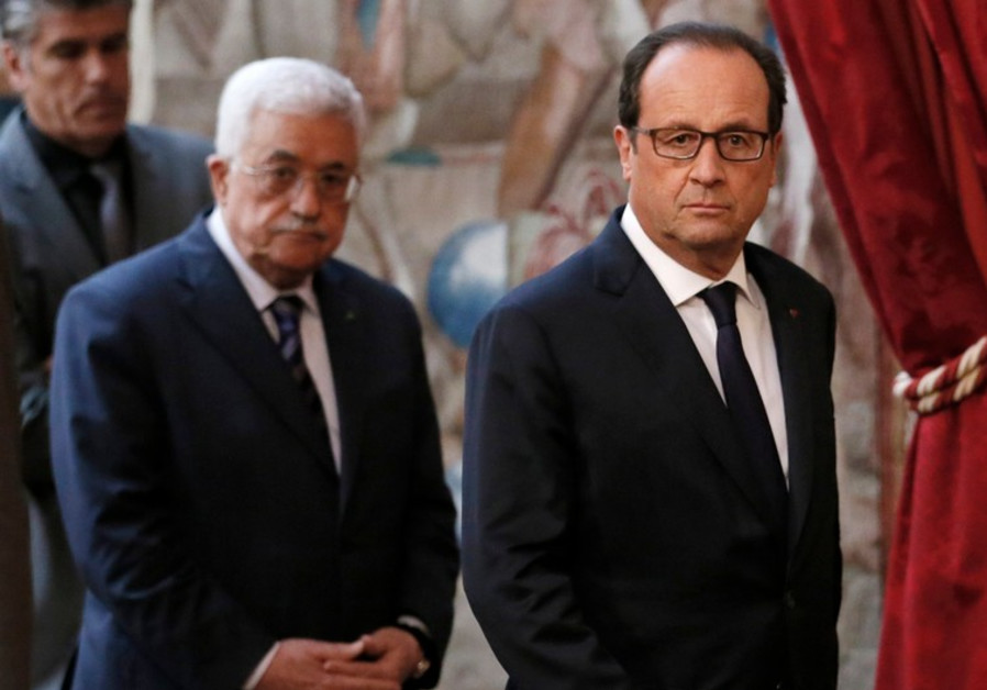 PA President Mahmoud Abbas and French President Francois Hollande, Paris September 19, 2014.