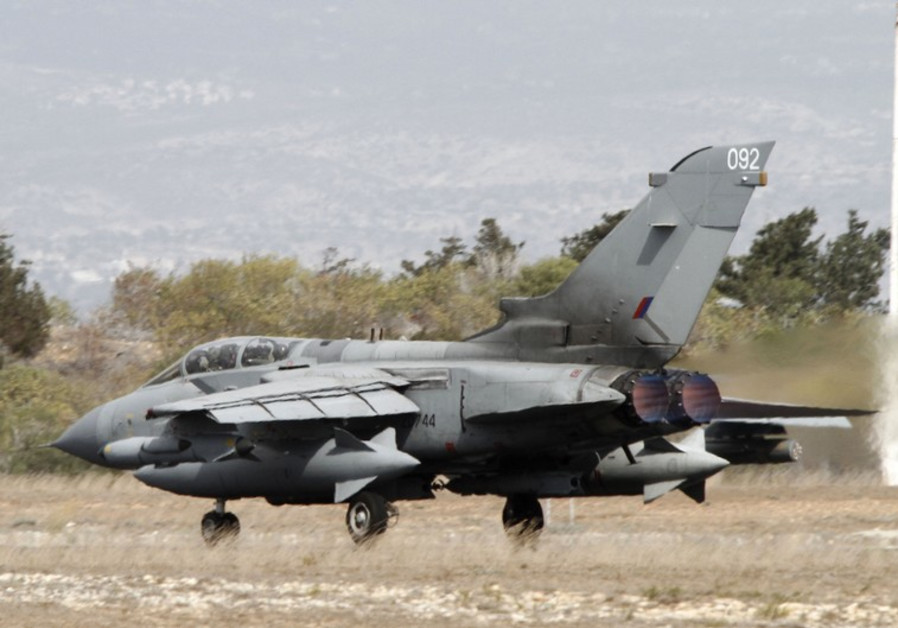A British Tornado jet prepares to takeoff at the RAF Akrotiri in Cyprus September 27, 2014