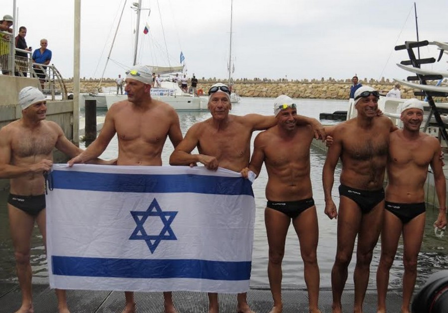 The Israeli Cyprus-Israel swim relay team.