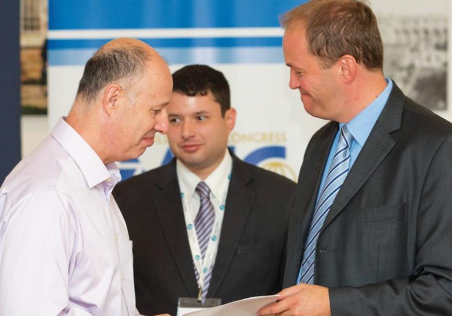 BRITISH MP David Burrowes (R) and Deputy FM Tzachi Hanegbi
