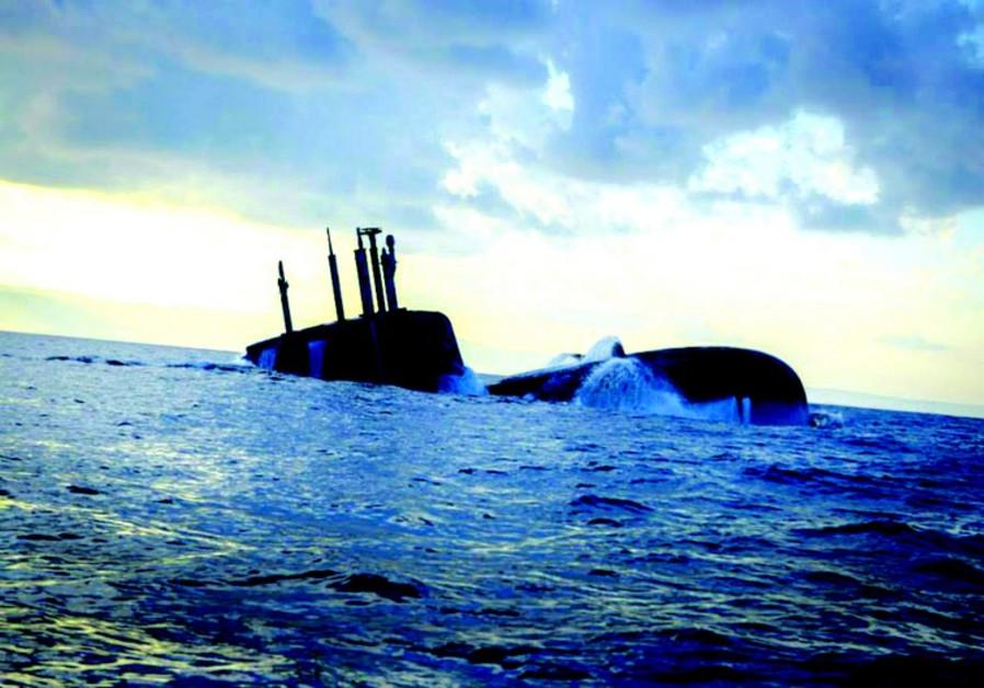 Un sous-marin de la classe Dolphin en Méditerranée, près de Haïfa. (Porte-parole de Tsahal)