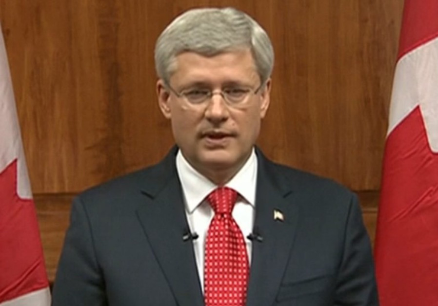 Stephen Harper addressing public after Ottawa attacks, October 22, 2014.