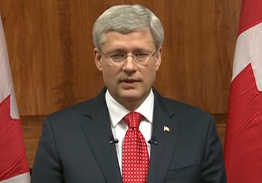 Stephen Harper addressing public after Ottawa attacks, October 22, 2014.