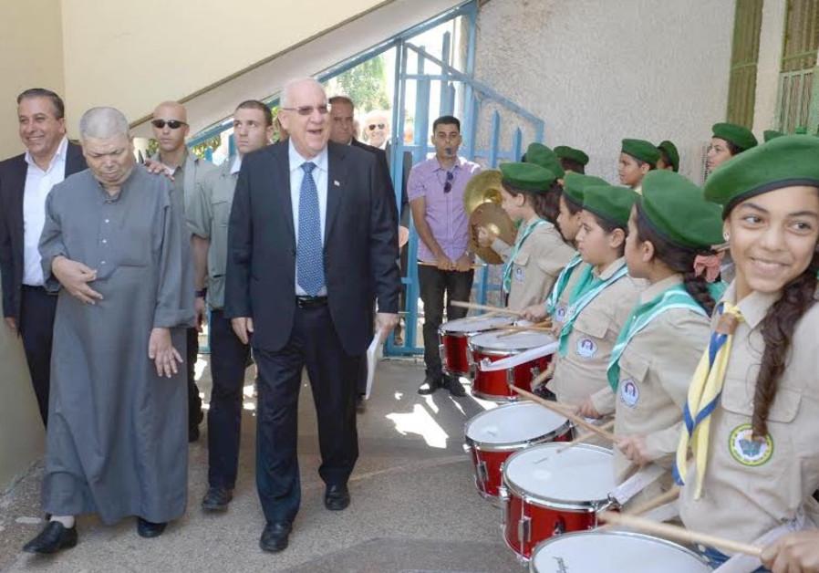 President Rivlin in Kfar Kasim, October 26, 2014.