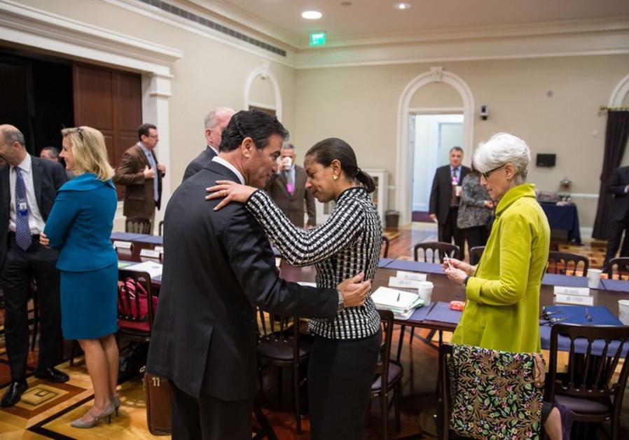 Susan Rice greets Yossi Cohen, National Security Advisor to Prime Minister Benjamin Netanyahu