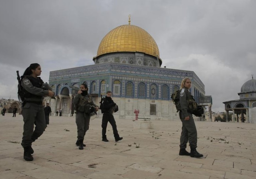 Border Police officers patrol Temple Mount area