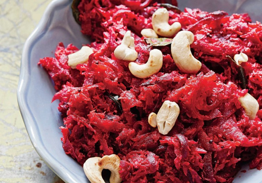 Beetroot thoran – sautéed beets with coconut and cashews