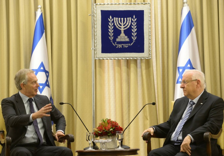 Tony Blair and Reuven Rivlin in Jerusalem