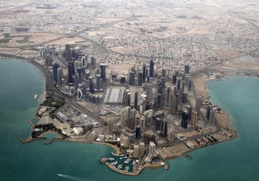 An aerial view of Doha, Qatar's capital