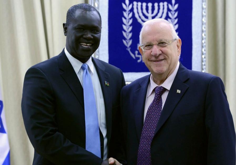 South Sudan Ambassador to Israel MR. RUBEN MARIAL BENJAMIN with President Rivlin
