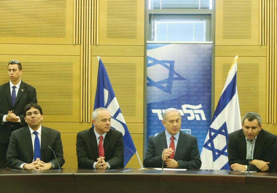 Danny Danon, Yuval Steinitz, Benjamin Netanyahu and Ze'ev Elkin.