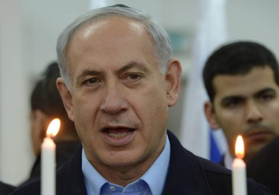 Prime Minister Benjamin Netanyahu at Hanukka ceremony, December 16, 2014