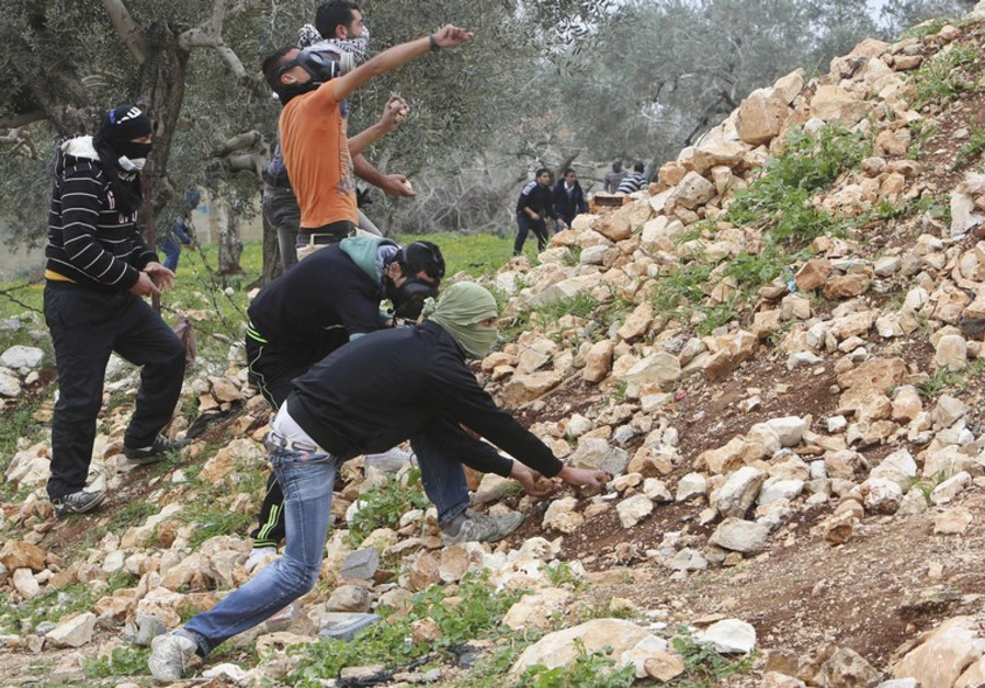 Palestinian protesters near Nablus