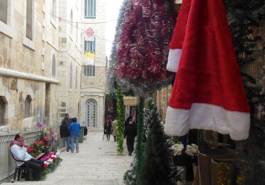 Christmas decorations in Jerusalem
