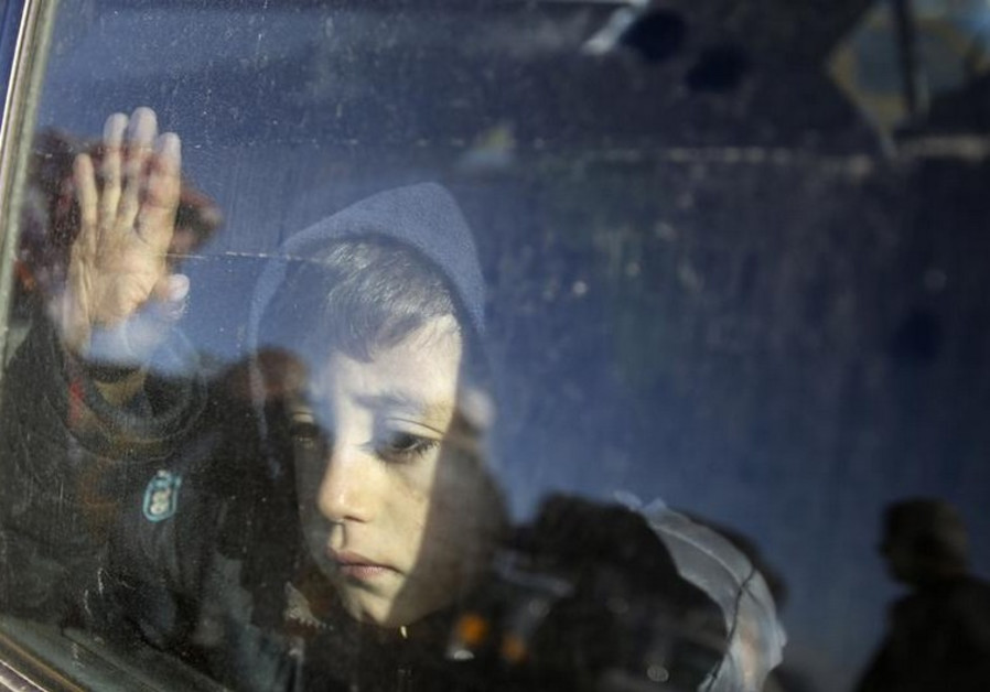 A Palestinian boy at Rafah