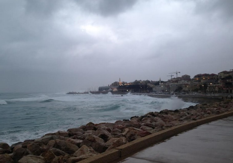 Stormy weather at Jaffa coast, January 2, 2014