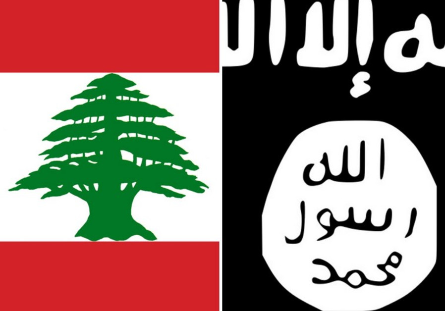 The flags of Lebanon and Islamic State