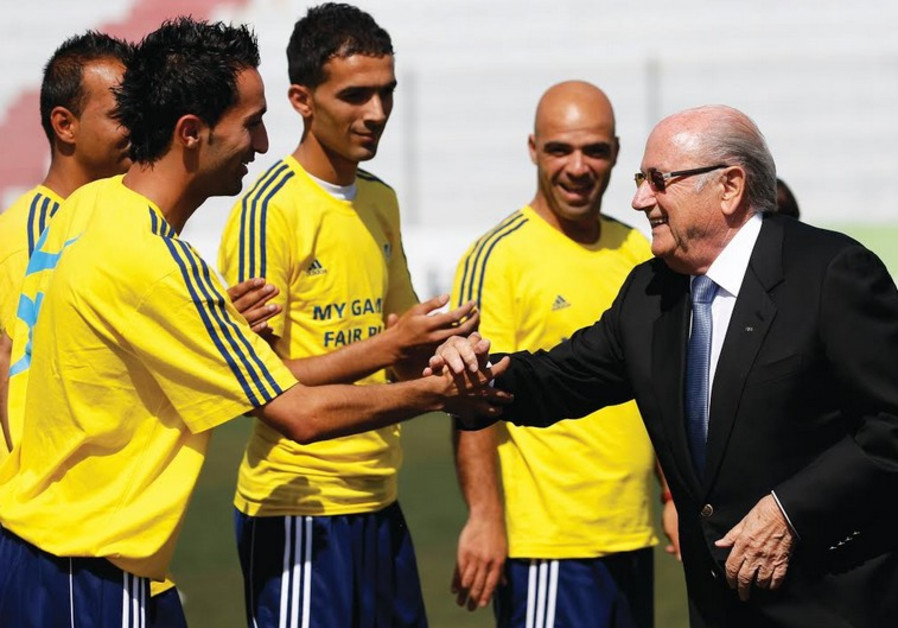 FIFA President Sepp Blatter with Palestinian soccer coaches