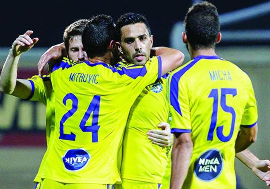 Maccabi TA players celebrating