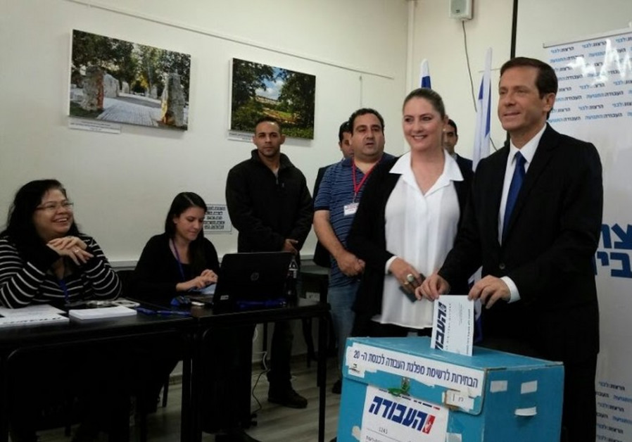 Labor Party leader Isaac Herzog casts his ballot in the primary