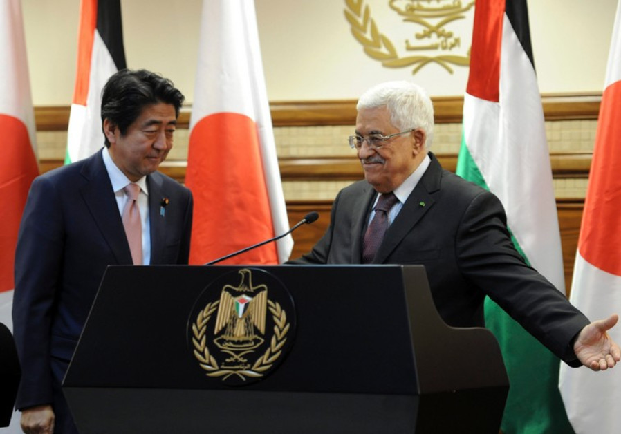 PA President Mahmoud Abbas with PM of Japan Shinzo Abe