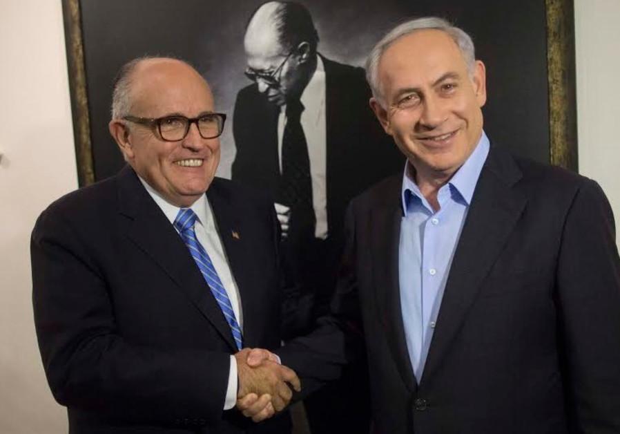 Former New York Mayor Rudy Giuliani (L) with Prime Minister Benjamin Netanyahu, February 2, 2015