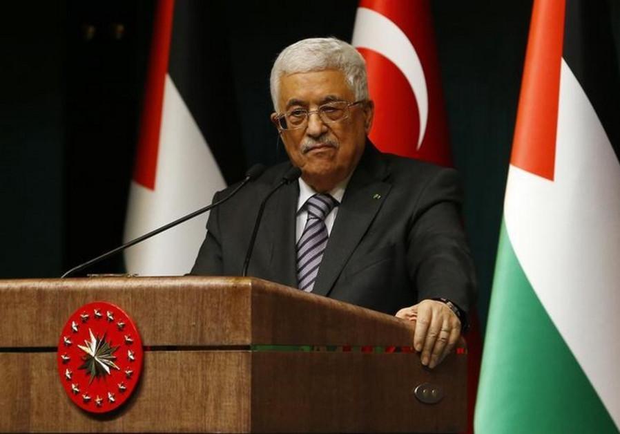 Palestinian Authority President Mahmoud Abbas speaks to the media in Turkey