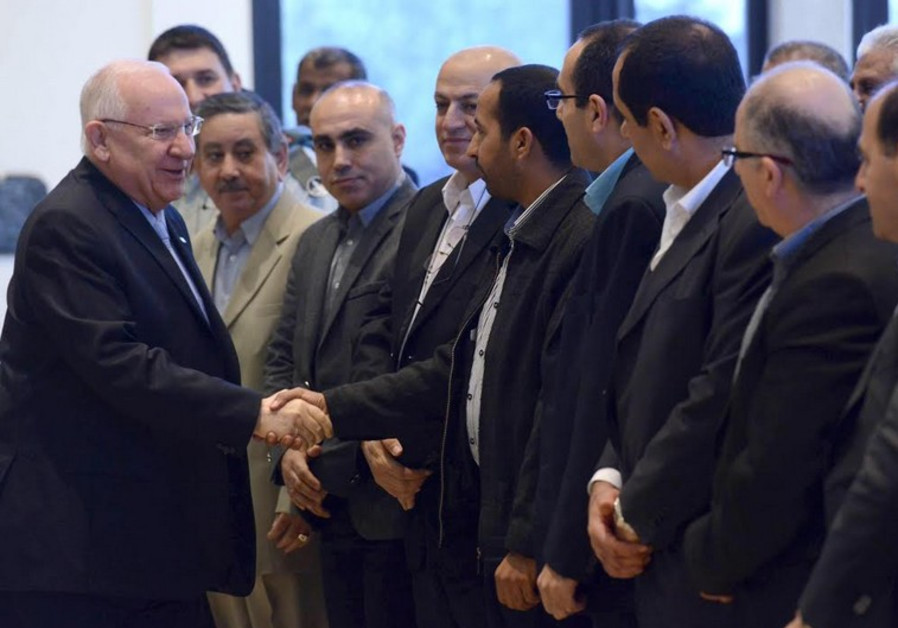 Rivlin with Arab mayors, February 5, 2015