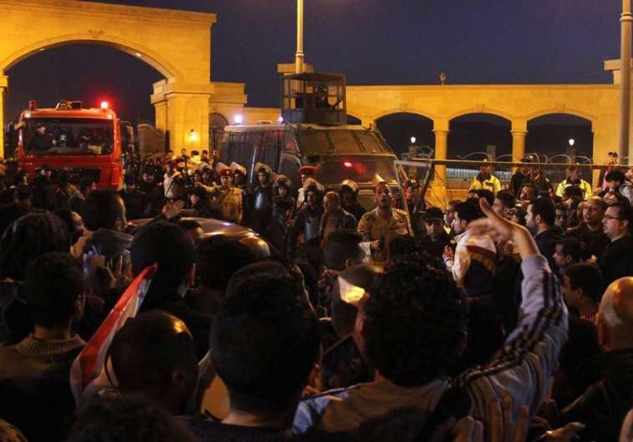 Scene outside of stadium near Cairo, February 9, 2015