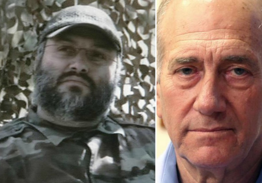 Former prime minister Ehud Olmert (R) and late Hezbollah arch-terrorist Imad Mughniyeh