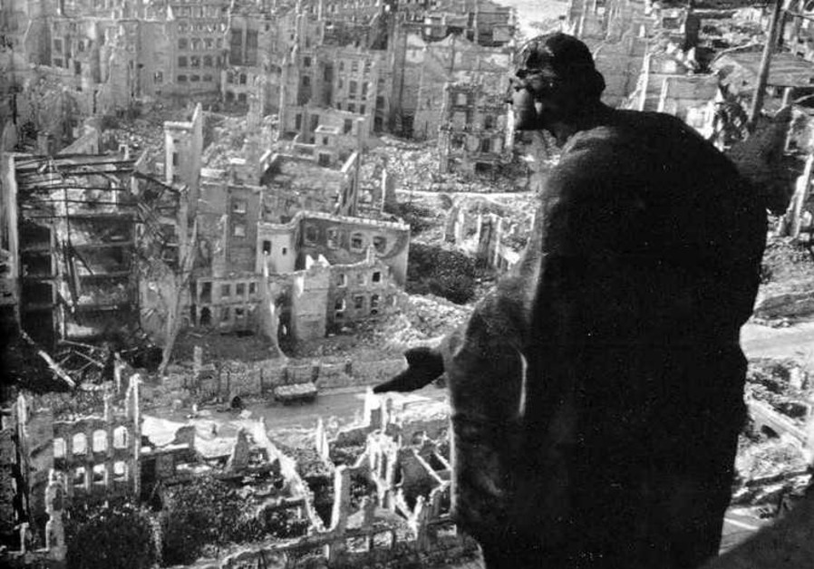 The scene in Dresden after Allied bombing in 1945