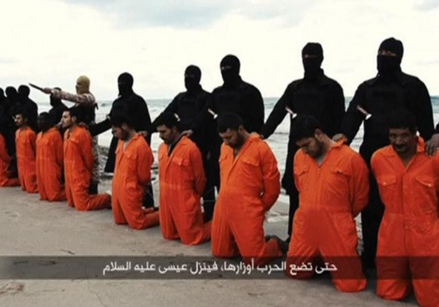 Egyptian Christians in orange jumpsuits just before their execution by ISIS henchmen