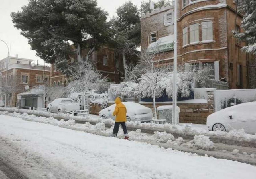 Snow-covered Jerusalem street, February 20, 2015