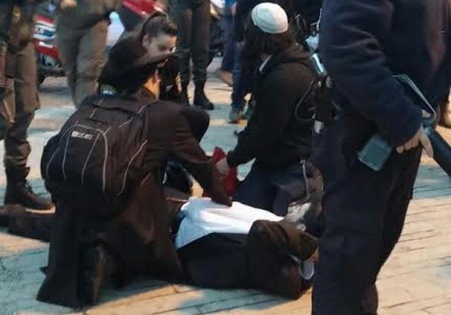 Stabbing in Jerusalem, February 22, 2015.