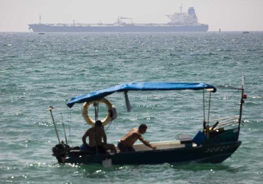 A Kurdish oil tanker is seen off the coast of Ashkelon