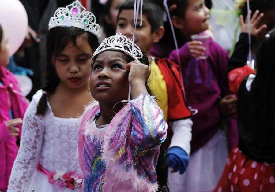 Children dressed up for Purim