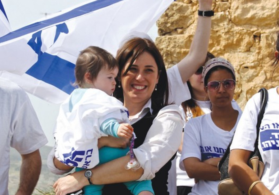DEPUTY TRANSPORTATION MINISTER Tzipi Hotovely (Likud) campaigns atop Mount Kabir near Eilon Moreh