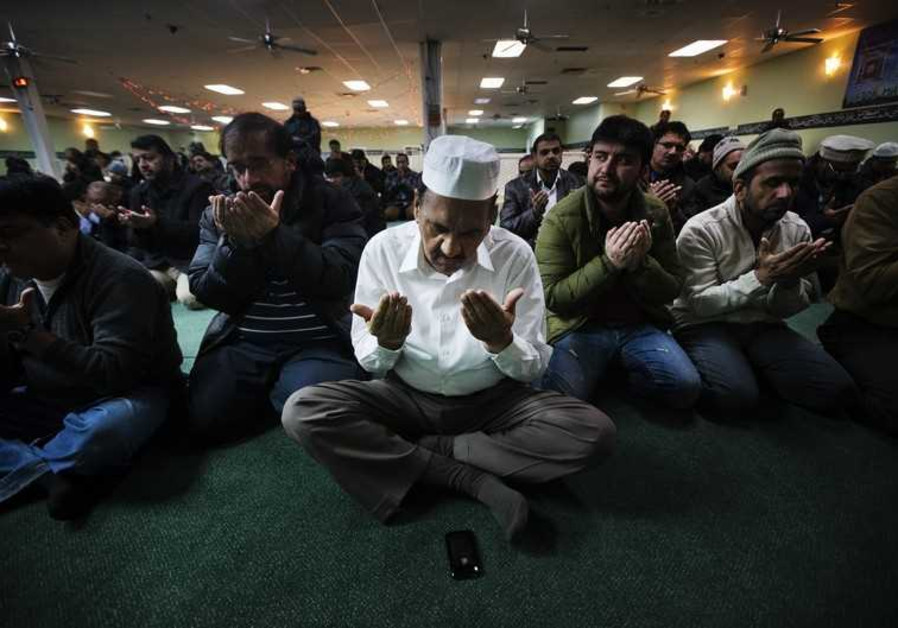 Canadian Muslims during prayer