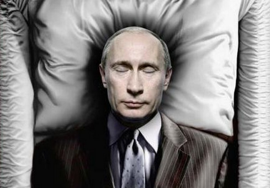 Russian President Vladimir Putin is depicted in a coffin