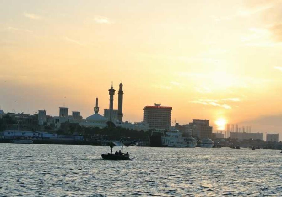 THE DUBAI CREEK at sunset