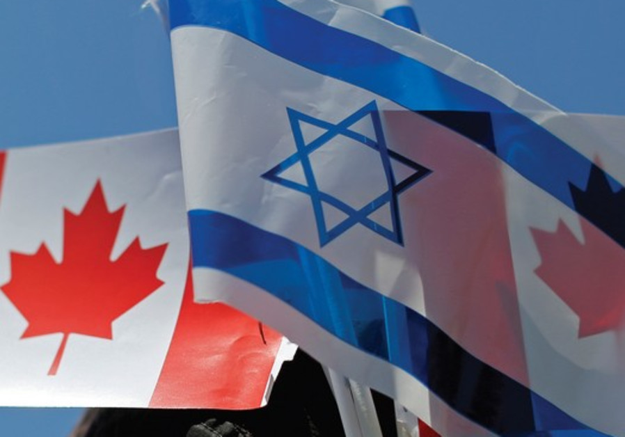 The flags of Israel and Canada