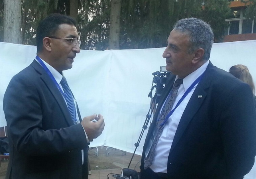 Mendi Safadi (L) meeting with Syrian opposition leader Dr. Kamal Al-Labwani