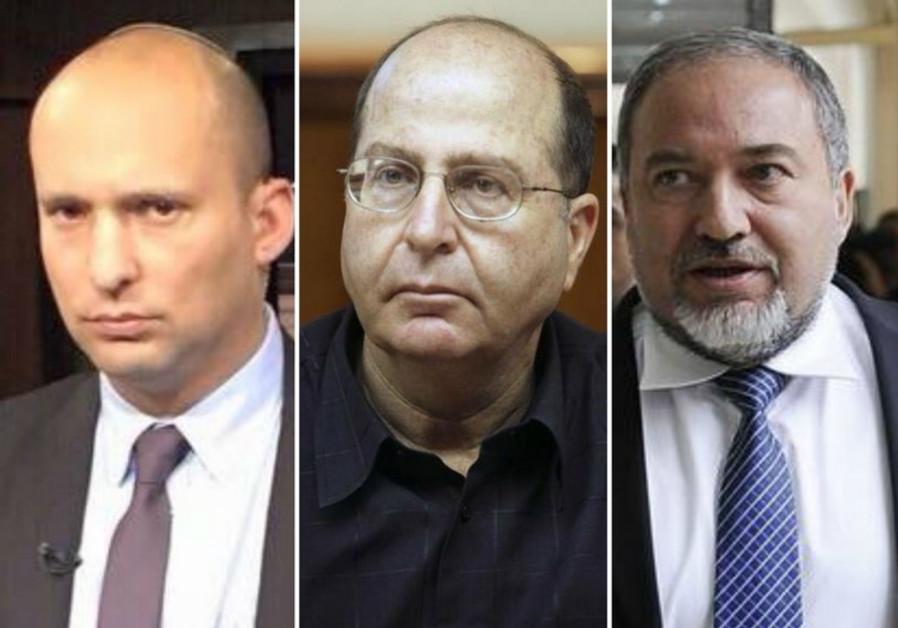 Naftali Bennett (L), Moshe Ya'alon, and Avigdor Liberman vie for the title of defense minister