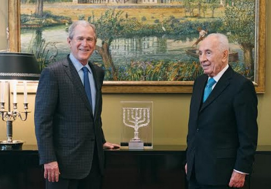George W, Bush (left) with Shimon Peres