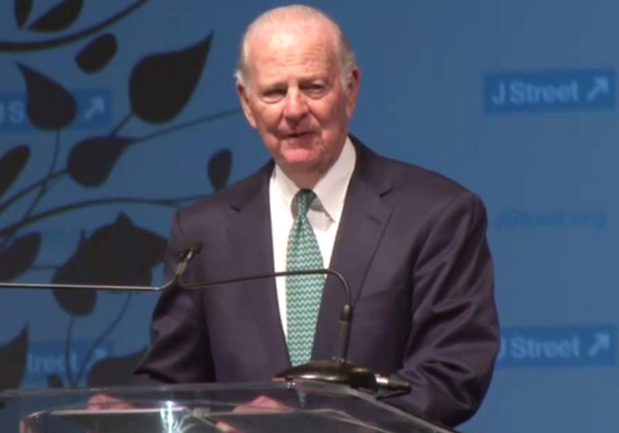 Former US Secretary of State James Baker speaks to J Street