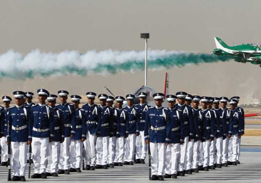 ROYAL SAUDI Air Force jets fly in formation.