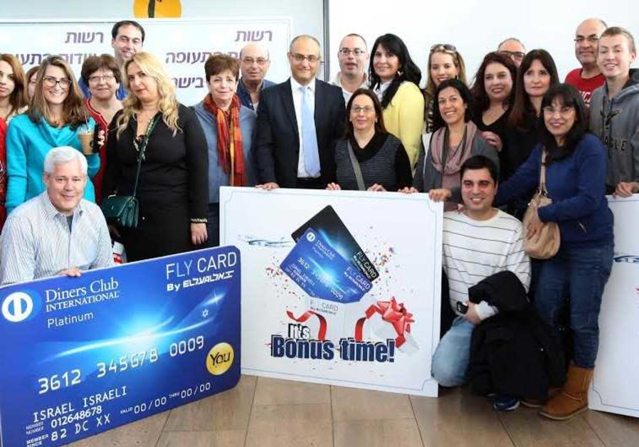 """El Al """"Fly Card"""" credit card holders before the flight to Rome."""